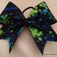 Paint Ball with Blue Youth Cheer Hair Bow Cheerleading