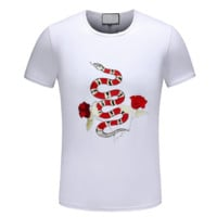 GUCCI New fashion embroidery floral snake couple top t-shirt White