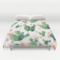 Cactus Drops Duvet Cover by Tasteful Tatters