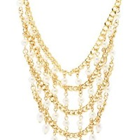 Gold Chain & Pearl Bib Necklace by Charlotte Russe