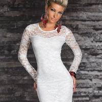 White Floral Lace Long Sleeve Bodycon Mini Dress