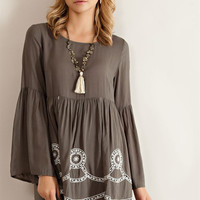 Loose Fit Baby Doll Dress - Olive