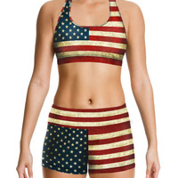 Vintage American Flag Printed Sports Fitness Suit
