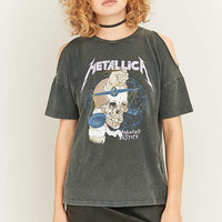 Long Gone Metallica Cold Shoulder Black T-shirt - Urban Outfitters