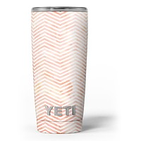 The Pale Orange Watercolored Chevron Pattern - Skin Decal Vinyl Wrap Kit compatible with the Yeti Rambler Cooler Tumbler Cups