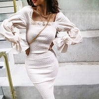 Autumn Women's New Square Collar Long Sleeve Pleated Fungus Slim Dress