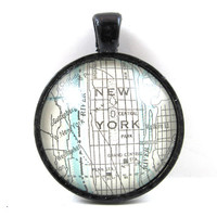 New York City Pendant from Vintage Map, in Glass Tile Circle