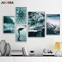 Green Sea Nature Plants Mountains Landscapes Set Scenery, Canvas Print Painting Poster Art, Wall Decor Home Decoration Art