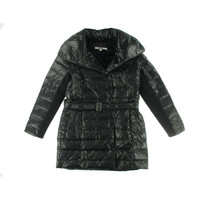 DKNY Womens Quilted Snap Closure Puffer Coat
