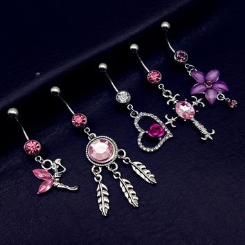 5pcs Pink Dangle Belly Button Piercings