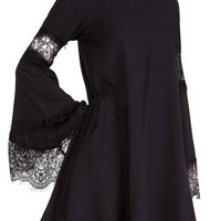 Black Lace Spliced Sleeve Shift Dress
