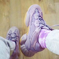 Onewel Adidas Yeezy 500 Boost Sneakers Sports Shoes Daddy thick soles More Color Optional Purple