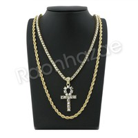 "GOLD ANKH CROSS PENDANT W/ 24"" ROPE /18"" TENNIS CHAIN NECKLACE S111"