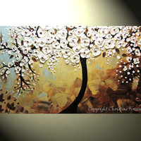 """CUSTOM, Original Abstract Tree Painting, Textured Tree of Life, Bronze White Flowers, Blue Brown, Knife 48x24"""" by Christine"""