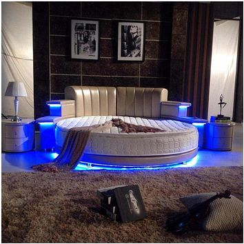 Modern Romantic Style Round Bed With USB Player And Bluetooth Multifunctional