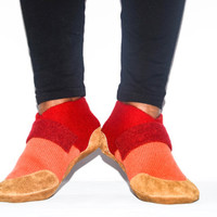 Unisex Cashmere Slippers from Recycled Materials, Men & Women Cashmere and Leather Shoes. Size:  USA Adults 6.5 -16.  Woolby's Ranch