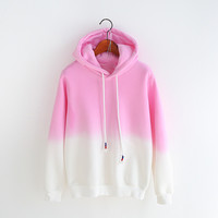 Cute gradient hooded fleece jacket