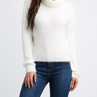 Cowl Neck Feather Knit Cropped Sweater | Charlotte Russe