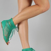 Kylie-10 Strappy Cut Out Lace Up Flat Sandal