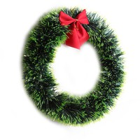 1pc Christmas Green Wreath Decorative Garland with Bowknot Home Decor (Green)