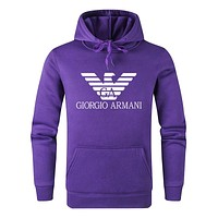 Armani tide brand men and women solid color hooded sweater purple