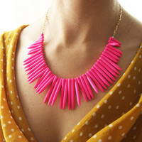 FREE SHIPPING - Neon Pink Stone necklace, Pretty Spikey 18K Gold Fill