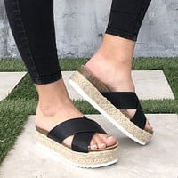 Dessie Tweed Platform Sandals In Black