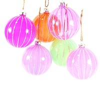 Glitter Ribbed Translucent Ornaments (Set of 6)