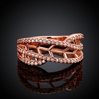 Openwork Ring with Zirconia Rose Gold Plated Ring