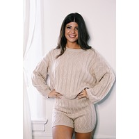 With Or Without You Knit Lounge Sweater, Taupe
