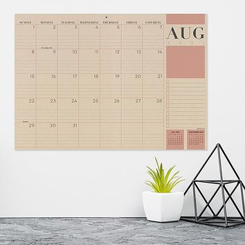 July 2021-June 2022 Kraft Mini Desk Pad Monthly Blotter Calendar