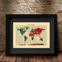 Watercolor Map, Dictionary Map Print, World Map Print, Map Art Print, Dictionary Print, Home Decor, Map Print, Dictionary Map Print -47