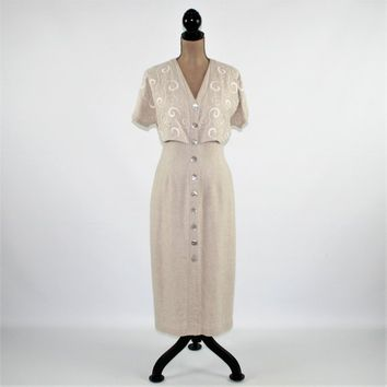 90s Button Up Dress Women Medium Short Sleeve Fitted Beige Linen Embroidered Dress Day Dress Size 8 Plaza South Vintage Clothing Women