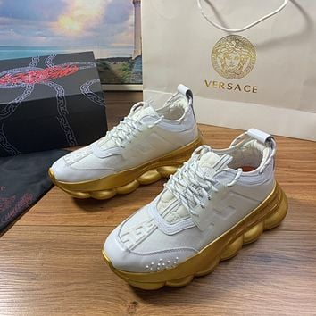 Versace Men's And Women's Leather Chain Reaction Sneakers Shoes