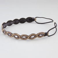Full Tilt Braided Oval Stone Headband Black One Size For Women 24385510001
