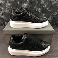 Alexander Mcqueen Oversized Black Glittered Calf Leather Lace-up Sneakers