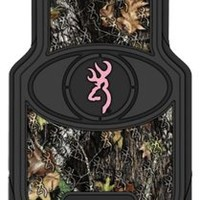 Browning Buckmark Floor Mat - Mossy Oak Country Camouflage (Pink Buckmark, Set of 2)