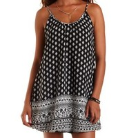 Black Combo Boho Print Bubble Hem Shift Dress by Charlotte Russe