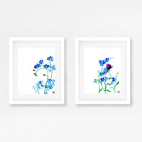 Forget me not Set of 2 watercolor painting wall art blue flower pastel color nursery print poster wild flower nature inspiration any size