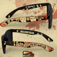 Sunglasses - The Walking Dead Wayfarer sunglasses zombie comic unique hand painted blood splatter Daryl Marle Dixon brothers
