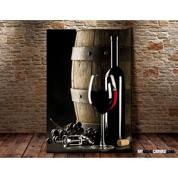 Large Wall Art Red Wine and Wine Barrel Giclee Canvas Art Print Wineglass Art Canvas Print