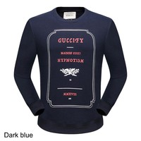GUCCI 2018 autumn and winter models of high-end men and women models round neck pullover sweater dark blue