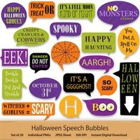 Halloween Digital Speech Bubbles Digital Stickers Bubble Happy Halloween Spider web Clip Art Speech Callouts Word Art Quotes Witch Label Tag