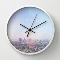 Los Angeles Skyline Typography  Wall Clock by Kim Lucian Photography