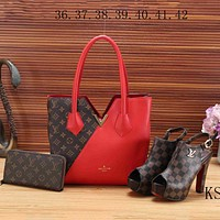 LV Louis Vuitton  new women's high quality three-piece Messenger bag F-KSPJ-BBDL red