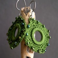 Olive Green Crochet Earrings - Mother's day present - Lace Fashion earrings - Indian Style - Boho Chic - Original unique
