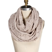 Beige Cable Knit Infinity Scarf