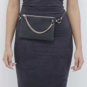 FRONT AND CENTER Faux Leather Belt Bag at FLYJANE
