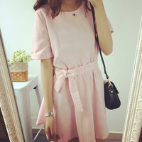 Solid Color Bow Short-Sleeved Mini Dress