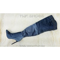 Lexi Blue Studded Thigh High Pointy Toe High Heel Boots 6-11
